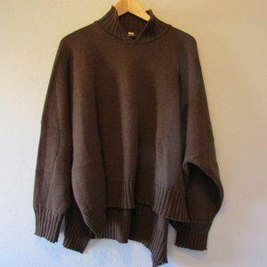 ESKANDAR Brown   boxy Hi-Low Pullover Sweater
